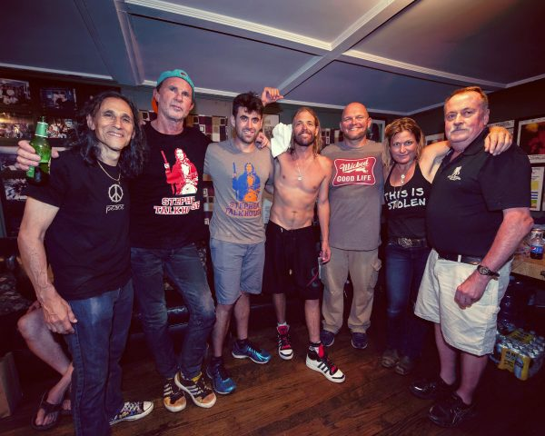Klyph Black, Chad Smith of Red Hot Chilli Peppers, Max Honerkamp, Foo Fighters' drummer Taylor Hawkins, barman Brandon Gabbard, Nancy Atlas, with Peter Honerkamp. Photo: Talkhouse