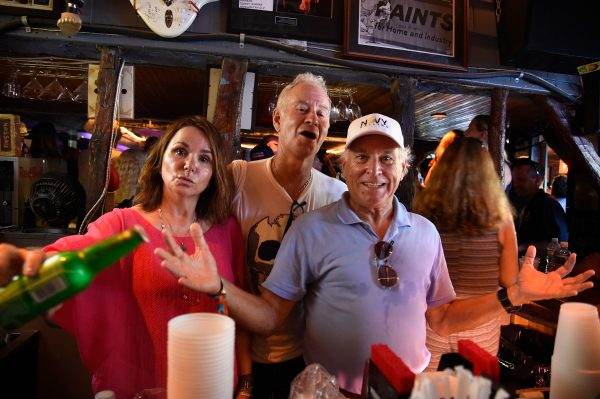 Patty Smyth, John McEnroe and Jimmy Buffett, manning the bar at Coldplay. Photo: Talkhouse