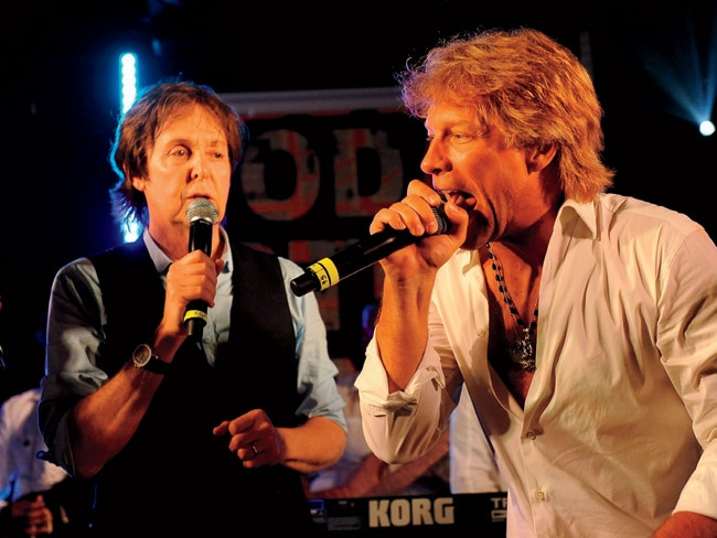 Paul McCartney and Jon Bon Jovi sing a duet.